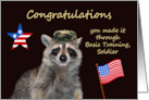 Congratulations, Completing Basic Training, raccoon wearing hat, flag card