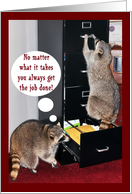 Business Thank You Employee, Raccoons with file cabinet card
