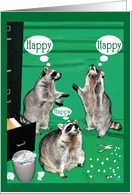 Administrative Professionals Day, raccoon, file cabinet, hole puncher, paper clips card