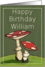 Happy Birthday William / Mushroom card