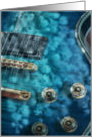 Guitar In Blue With Flowers card