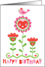Happy Bird in Garden card