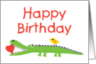 Alligator Heart and Bird Birthday card