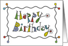 Sparkling Birthday with patterns, circles & stars card