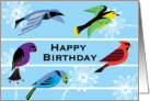 Colorful Royal Birds and Flowers card