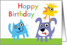 Dog Cat & Bird Buddies Birthday Card