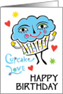 Giant Cupcake Love with hearts Birthday card