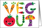 Veg Out with cute colorful vegetables card