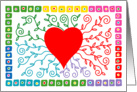 Red Heart with Rainbow Vines card