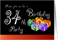 34th Birthday Party Invitation - Gifts card