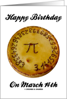 Happy Birthday! On March 14th (Pi On A Pie) card