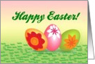 Happy Easter (Three Pastel Easter Eggs With Flowers On Grass) card