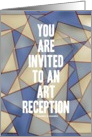 You Are Invited To An Art Reception (Abstract Triangles Blue Beige) card