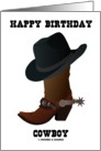 Happy Birthday Cowboy (Cowboy Hat Boot With Larkspur) card