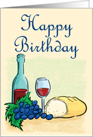 Happy Birthday Wine and Bread card