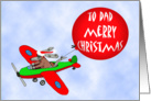 to Dad, Merry Christmas,from all of us, flying dog with balloon, humor card