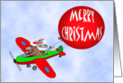 Merry Christmas, flying dog with balloon, humor card