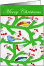 Merry Christmas, Birds, and cherries card