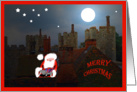 Merry Christmas, Santa on rooftops card