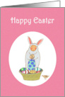 Happy Easter Bunny, with eggs, basket and bird.for girl. card