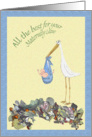 All the best for your Maternity Leave Stork and Baby, humor card