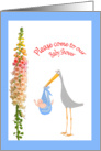 Invitation to Baby shower, humour, Stork and baby, humor card