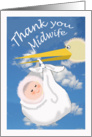 Thank you Midwife, stork and baby, card