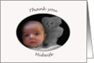 Thank you Midwife, Baby and Teddy card