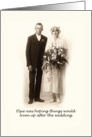 Vintage Wedding Congratulations, Humour, Elsie was hoping things would liven up after the Wedding card