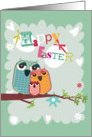 Easter Owl Family on a Branch card