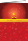 Diwaly greetings, lamp and flowers on red card