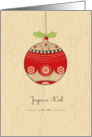 Joyeux No�l, cute Christmas bauble card