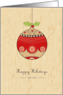 happy Holidays, cute Christmas bauble card