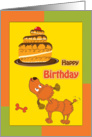 Happy Birthday, cute brown toy poodle and birthday cake card