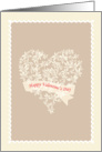 Happy Valentine's day, heart & flowers card