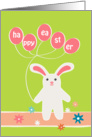 happy easter, cute rabbit and balloon card
