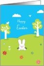 happy easter, cute rabbit coming out of his burrow card
