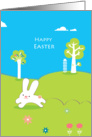 happy easter, cute little rabbit running in the meadow card