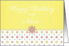 Happy Birthday to my Niece - Pink and Yellow Flowers card