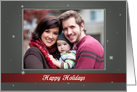 Happy Holidays - Gray and Red with Snowflakes Photo Card