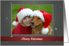 Thumbnail image forMerry Christmas - Gray and Red with Snowflakes Photo Card