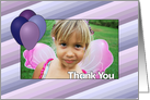 Thank You with Purple and Blue Balloons - Custom Photo card