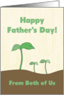 Green Sprout Dad & Kids From Both of Us on Father's Day card