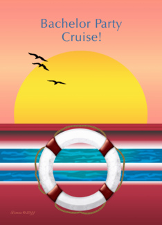Cruise - Bachelor Party Invite - Sunset Design Greeting Card