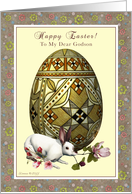 Godson - Happy Easter - Bunny and Egg Floral card