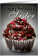 Happy Birthday Sister-Chocolate Cupcake card