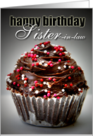 Happy Birthday Sister In Law-Chocolate Cupcake card