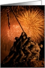 Birthday - Marine Iwo Jima War Memorial Fireworks card