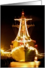 Happy Holidays - USS Russell bow holiday lights card
