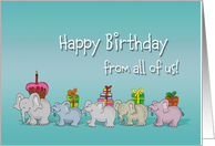 Humorous Happy Birthday from all of us, from group, Elephants gift card